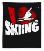 I Love Skiing Fleece Blanket