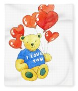 I Love You Bear Fleece Blanket