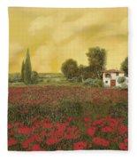 I Papaveri E La Calda Estate Fleece Blanket by Guido Borelli