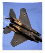 Iaf F15i Fighter Jet On Blue Sky Fleece Blanket