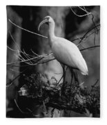 Ibis In Black And White  Fleece Blanket