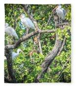 Ibises In A Tree Fleece Blanket