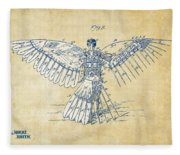 Icarus Human Flight Patent Artwork - Vintage Fleece Blanket