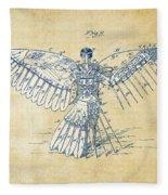 Icarus Human Flight Patent Artwork - Vintage Fleece Blanket