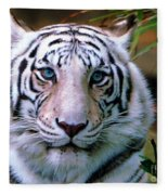 Ice Blue Eyes Of The Tiger Fleece Blanket