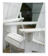 Ice-coated Chairs Fleece Blanket