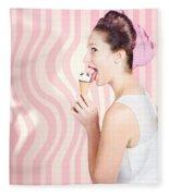 Ice Cream Pin-up Poster Girl Licking Waffle Cone Fleece Blanket