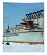 Ice Fishing On Lake Erie Fleece Blanket