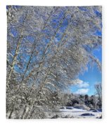 Ice Laden Birches Fleece Blanket
