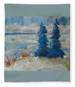 Ice On Lake Erie Fleece Blanket