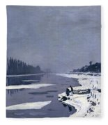 Ice On The Seine At Bougival Fleece Blanket