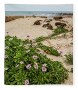 Ice Plant Booms On Pebble Beach Fleece Blanket