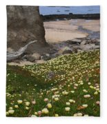 Ice Plants On Moss Beach Fleece Blanket