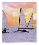 Ice Sailing On The Gouwzee In The Countryside From The Netherlan Fleece Blanket
