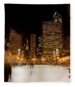 Ice Skaters And Chicago Skyline Fleece Blanket