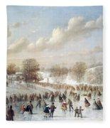 Ice Skating, 1865 Fleece Blanket