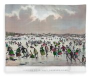 Ice Skating, C1859 Fleece Blanket