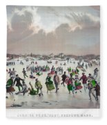 Ice Skating, C1859 Fleece Blanket