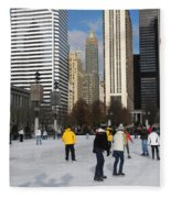 Ice Skating In The Park Fleece Blanket