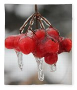 Ice Wrapped Berries Fleece Blanket