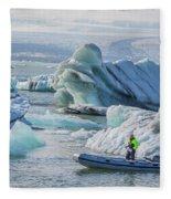 Icebergs On Jokulsarlon Lagoon In Iceland Fleece Blanket