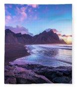 Iceland Beach Sunrise At Stokksnes Fleece Blanket