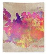 Iceland Map Fleece Blanket