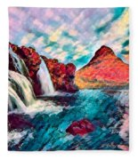 Iceland Waterfalls Fleece Blanket