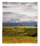Icelandic Horses On The Countryside  Fleece Blanket