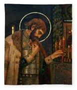 Icon Of Reverend Prince Alexander Nevsky. Saint Petersburg Fleece Blanket