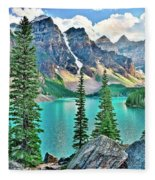 Iconic Banff National Park Attraction Fleece Blanket
