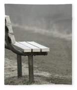 Icy Bench In The Fog Fleece Blanket