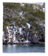 Icy Cliff In Winter Fleece Blanket