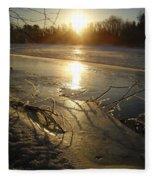 Icy Mississippi River Bank At Sunrise Fleece Blanket
