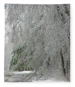 Icy Street Trees Fleece Blanket