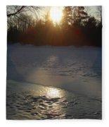 Icy Sunrise Reflection Fleece Blanket