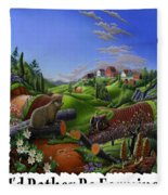 Id Rather Be Farming - Springtime Groundhog Farm Landscape 1 Fleece Blanket