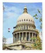 Idaho State Capitol In The Spring Fleece Blanket