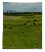 Idyllic Cows In The Hills Fleece Blanket