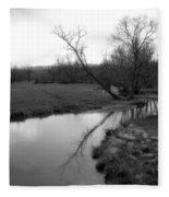 Idyllic Creek - Black And White Fleece Blanket