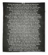 If Poem By Rudyard Kipling Fleece Blanket