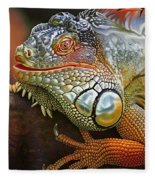 Iguana Full Of Color Fleece Blanket