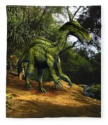 Iguanodon In The Jungle Fleece Blanket