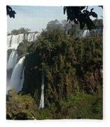 Iguazu Falls Panoramic View Fleece Blanket