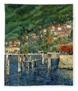 il porto di Bellano Fleece Blanket