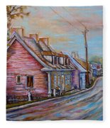 Iles D'orleans Quebec Village Scene Fleece Blanket