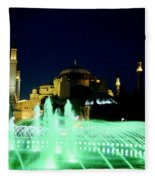 Illuminated Fountain Of Istanbul Fleece Blanket