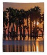 Illuminated Palm Trees Fleece Blanket
