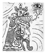 Surrealism Illuminati Black And White Fleece Blanket