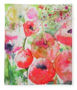 Illusions Of Poppies Fleece Blanket
